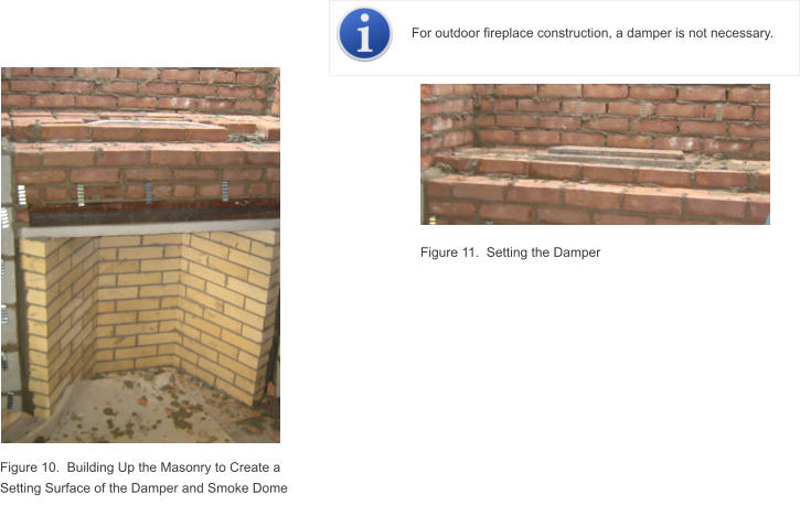Figure 10.  Building Up the Masonry to Create a Setting Surface of the Damper and Smoke Dome Figure 11.  Setting the Damper